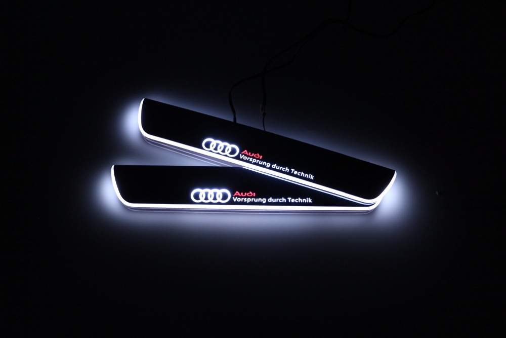 Qirun acrylic led moving door scuff welcome light pathway lamp door sill plate linings for Audi A5 S5 RS5 4-door 2012 - 2015 free ship rear door of high quality acrylic moving led welcome scuff plate pedal door sill for 2013 2014 2015 audi a4 b9 s4 rs4