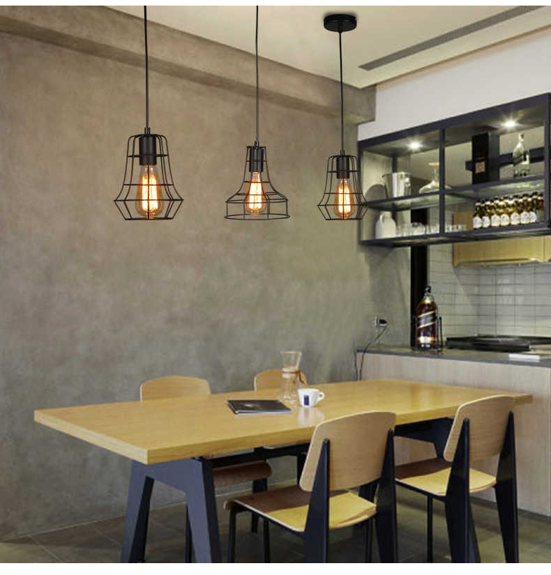 American rustic cord pendant lights Kitchen island light Retro iron cage  lampshade warehouse hanging lamp Home lighting fixtures