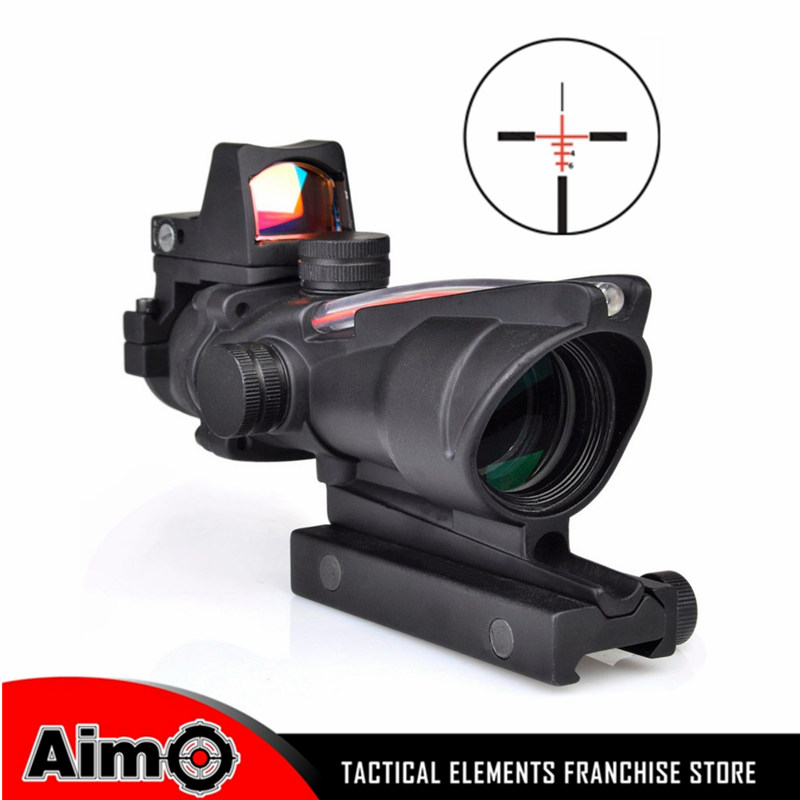 Aim Sight ACOG Style 4X32 Rifle scope Real Red Optical Fiber Red Dot sight scope Red Dot Markings Hunting AO 1003