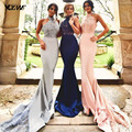 Royal Blue Mermaid Bridesmaid Dresses Wedding Party Gown Dress Halter Elastic Stain Lace Beads Court Train