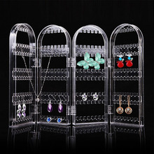 Foldable 4 Panel Clear Acrylic Makeup Jewelry Organizer Rack Holder Earring Stud Necklace Bracelet Case Cabinet Stand Shelf