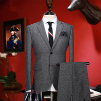 Men Suit Warm Retro Grey Wedding Groom Wear Fashion Suits Set 2 Pieces Blazer Pant Single