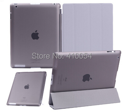 1 Pair/lot PU Leather Front Smart Cover+Crystal Hard Back Case Shell For iPad 2 For iPad 3 For iPad 4 9 colors free shipping