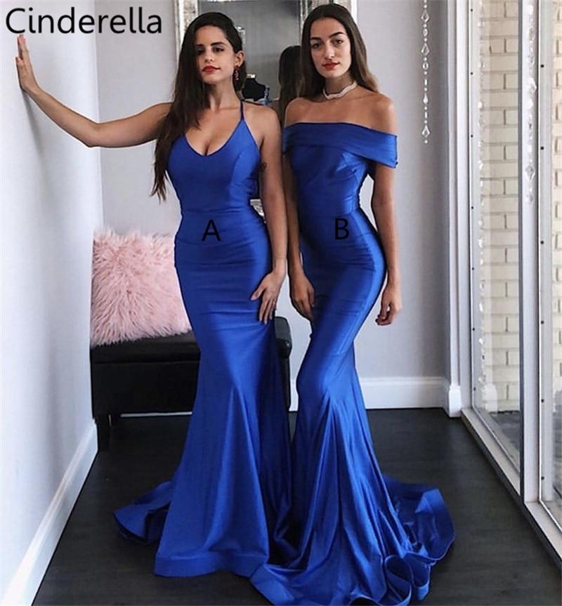 Cinderella Royal Blue Floor Length Sweep Train Silk Satin Mermaid   Bridesmaid     Dresses   Wedding Party   Bridesmaid   Gowns