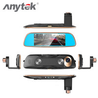 Anytek Tachograph AR0330 7 Inch LPTS 1920P HD Dual Cameras Night Vision Cycle Recording Reversing Mirror