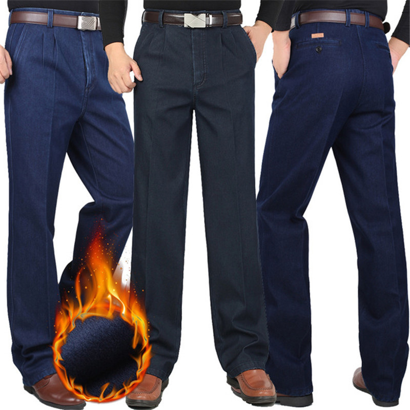 Winter Casual Pants Men Plus Velvet Thickening Men's High Waist Loose Double Pleated Cotton Casual Warm Trousers Size 30-44 46