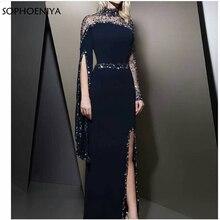 Новое поступление с высокой горловиной Черное вечернее платье кафтан dubai длинный рукав платье Русалочки для девочки вечерние платья robe de soiree