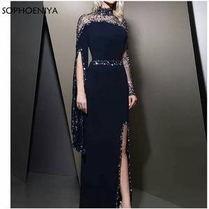 Image 1 - Robe de soirée forme sirène, col haut, manches longues, noire, kaftan, robe doccasion, style dubaï, nouveauté