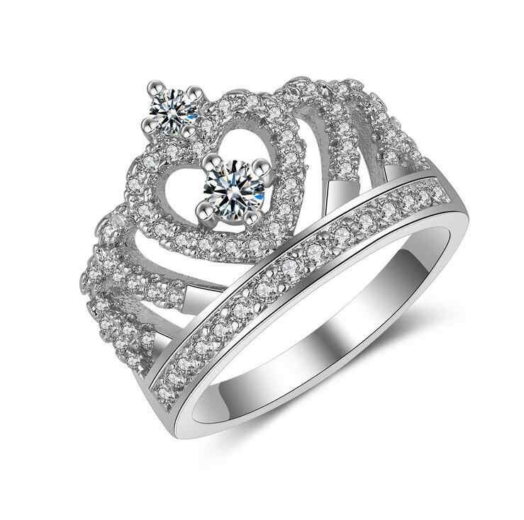Legal Jóias Diferentes projetos da coroa de Luxo 925 Sterling Silver Cheio 5A CZ Cúbicos de Zircônia Mulheres Do Partido Presente Anel Wedding Band