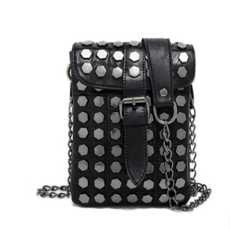 Fashion Genuine Leather Skull Rivet Women Bags Punk Style With Chains And Tassel Messenger Bags For Women Casual Hand Package punk style butterfly chains choker