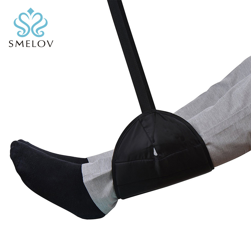 Smelov Wholesale Portable Chair Office Home Foot Hammock  Travel Outdoor Indoor Mini Foot Feet Rest Hammock  Black