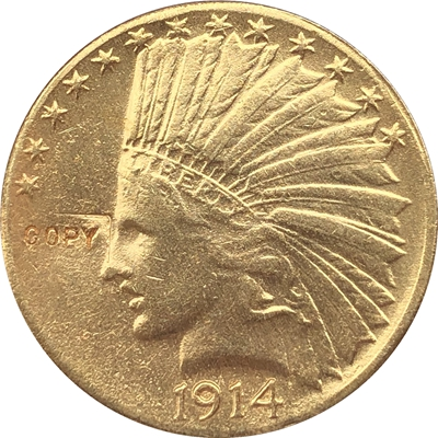 24- K gold plated <font><b>1914</b></font> Indian head $10 gold coin COPY image