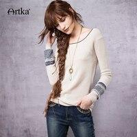 ARTKA Wool Women's Sweater 2018 Patchwork Pullover Autumn Sweater Women Korean Jumper Knitted Sweater Oversize Knitwear YB12363Q