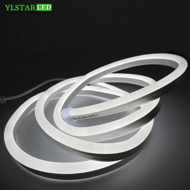 YLSTAR LED Neon Strip AC110V/220V SMD2835 120LEDs/M soft Neon tape BAR light Power Plug Size:8x16mm Waterproof IP67