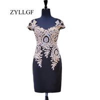 ZYLLGF Short Wedding Party Dress Sheath Sweetheart Cap Sleeve Gold Lace Black Mother Dresses With Beadings RS97