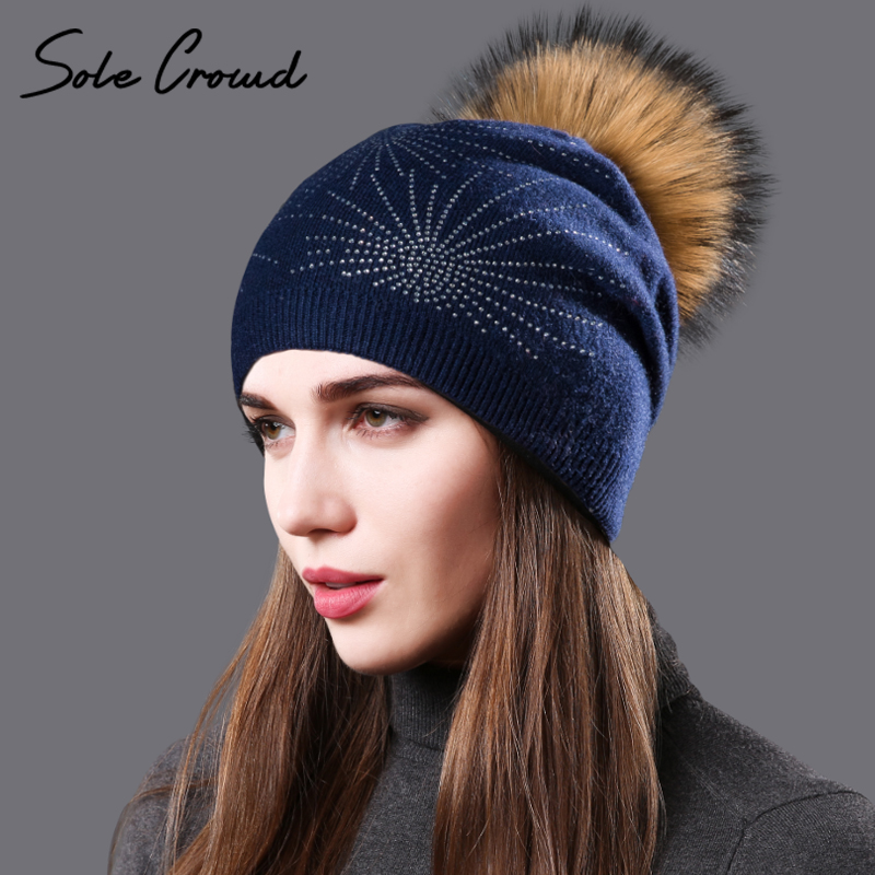 Women  Winter Diamante Fur Detachable Large Pom Pom Hat Bling Crystal Beanie Hat