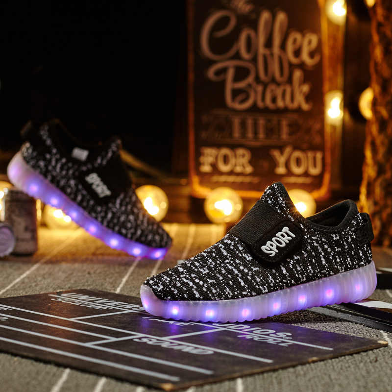Children luminescent shoes LED lamp shoes boys girls casual sneakers USB rechargeable fluorescent shoes fashion kids shoes C388