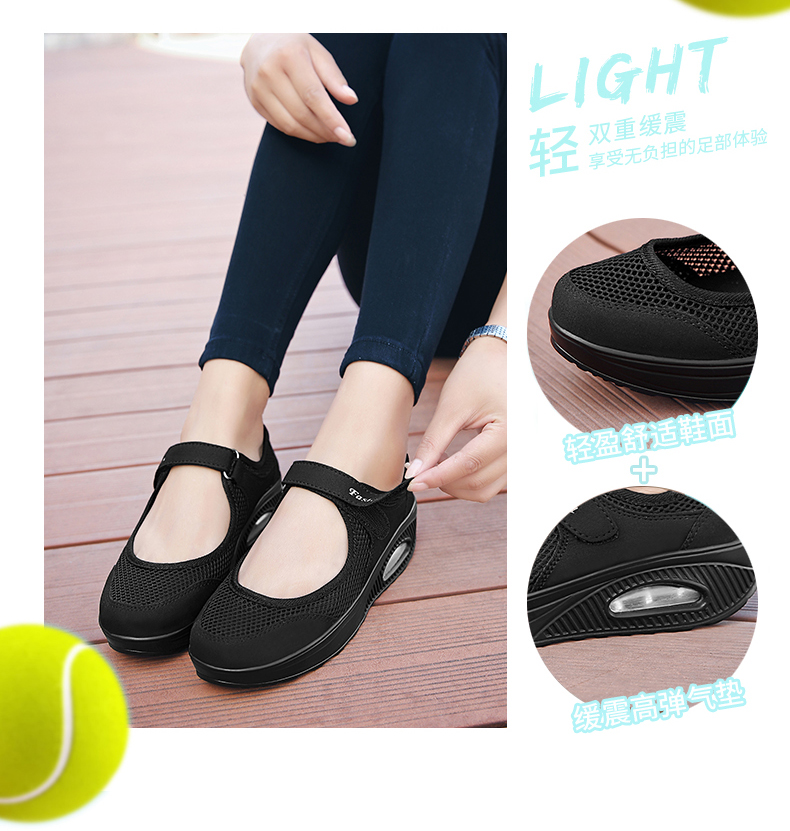 STS Brand 2019 New Fashion Women Sneakers Casual Air Cushion Hook & Loop Loafers Flat Shoes Women Breathable Mesh Mother`s Shoes (1)