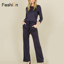 eaacad952096 Women Black Daily Jumpsuit Fashion Wide Leg Skinny Jumpsuits Casual High  Waisted O Neck Playsuits Rompers