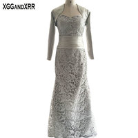 With Jacket Sliver Lace Mermaid Mother Of The Bride Dress 2018 Sweetheart Zipper Back Floor length Women Dress For Wedding Party