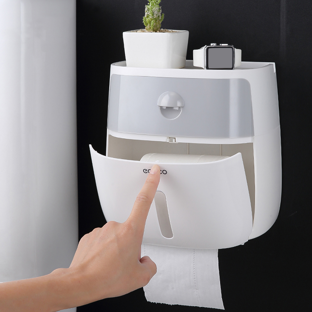 Bathroom Waterproof Tissue Box Plastic Bath Toilet Paper Holder Wall Mounted Paper Storage Box Double Layer DispenserBathroom Waterproof Tissue Box Plastic Bath Toilet Paper Holder Wall Mounted Paper Storage Box Double Layer Dispenser