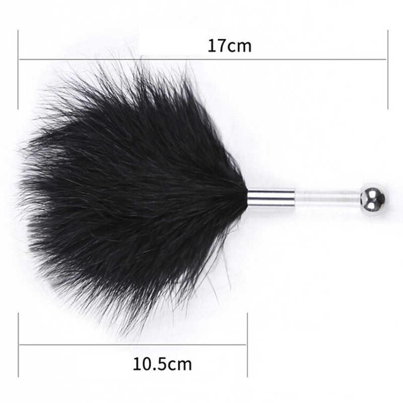 Black Bird Feather Clit tickler Spanking Sex Toy Feather Flirting Tickler Sex Whip Flirt Soft Ticklers Slave Flogger