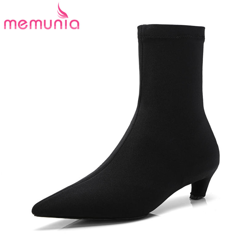 MEMUNIA 2018 new arrive hot sale ankle boots for women pointed toe autumn winter high heels boots sexy thin heels shoes womanMEMUNIA 2018 new arrive hot sale ankle boots for women pointed toe autumn winter high heels boots sexy thin heels shoes woman