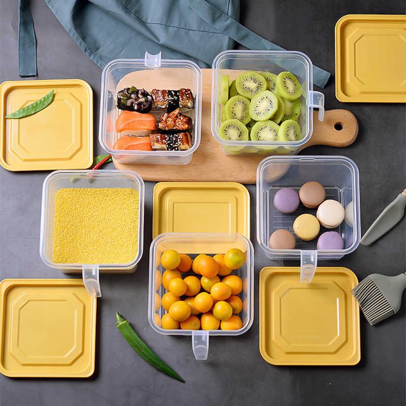 Cozinha geladeira caixa de armazenamento de plástico com alça recipiente de alimentos transparente mantendo ovo peixe frutas frescas geladeira organizador
