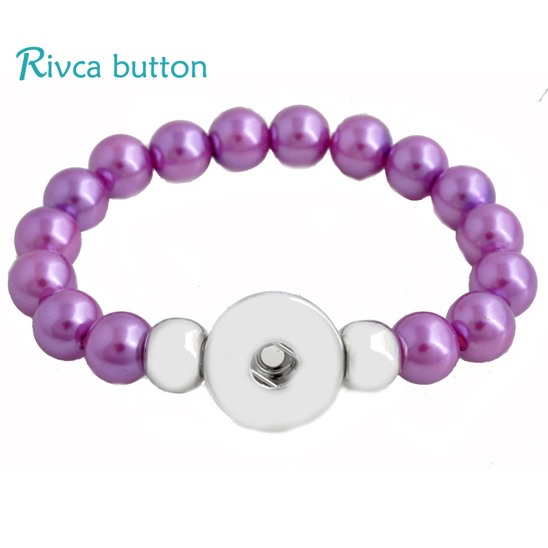 P00837 Hot Wholesale 10 Color Acrylic Beaded Bracelet For Woman Gifts charm Snap Bracelet Fit 18mm DIY Rivca Snap Button Jewelry