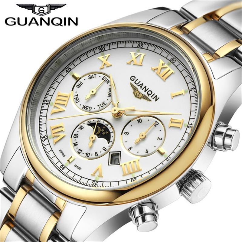 Relogio Masculino GUANQIN Luxury Brand Watch Fashion Quartz Watches Men Stainless Steel Watchband Waterproof Relojes Clock onlyou brand luxury fashion watches women men quartz watch high quality stainless steel wristwatches ladies dress watch 8892