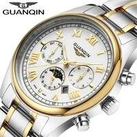 Relogio Masculino GUANQIN Luxury Brand Watch Fashion Quartz Watches Men Stainless Steel Watchband Waterproof Relojes Clock