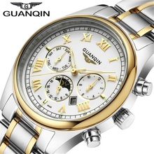 GUANQIN Relogio Masculino Luxury Brand Смотреть Мода Кварцевые Часы Мужчины Из Нержавеющей Стали Ремешок Для Часов Водонепроницаемый Relojes Часы