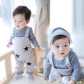 2016 autumn baby boy clothes Long sleeve Top + strap overalls 2pcs sport suit baby clothing set newborn infant clothing 0-24 M