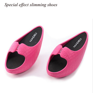 Image 4 - Femmes Fitness perte de poids Massage pantoufles femme négatif talon Stovepipe Toning chaussures baskets glisser cales plate forme Swing chaussures