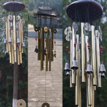 Gold Hanging Wind Chimes Bells Antirust Copper Aluminum wood 13pcs Tubes Outdoor Yard Garden Home Decor Ornament Chapel Church