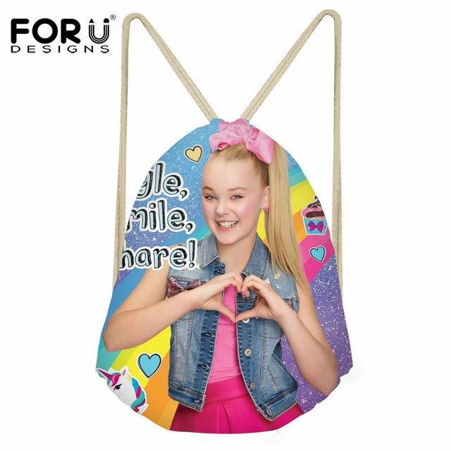 bb10c14d5b FORUDESIGNS JOJO Siwa Printing Girls School Bag Childrens String Backpack  3D Superstar Drawstring Bag Boys Mochila Students Kids
