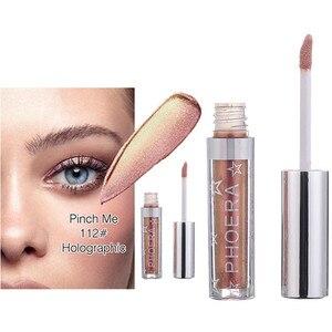 Image 5 - PHOERA sombra de ojos de 12 colores, maquillaje, sombra de ojos líquida con brillo y brillo metálico, 2018