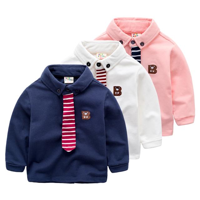 Polo do bebê crianças de manga comprida t-shirt camisa de lapela casaco menino coreano moda desgaste nova primavera manga longa seção