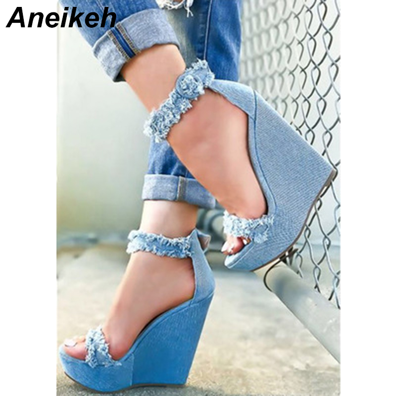 Aneikeh 2018 Autumn Fashion <font><b>Sexy</b></font> Canvas Wedges High Heels Ankle Women's <font><b>Shoes</b></font> Cover Heel Caual Wear For Party <font><b>Shoes</b></font> Blue 35-40 image