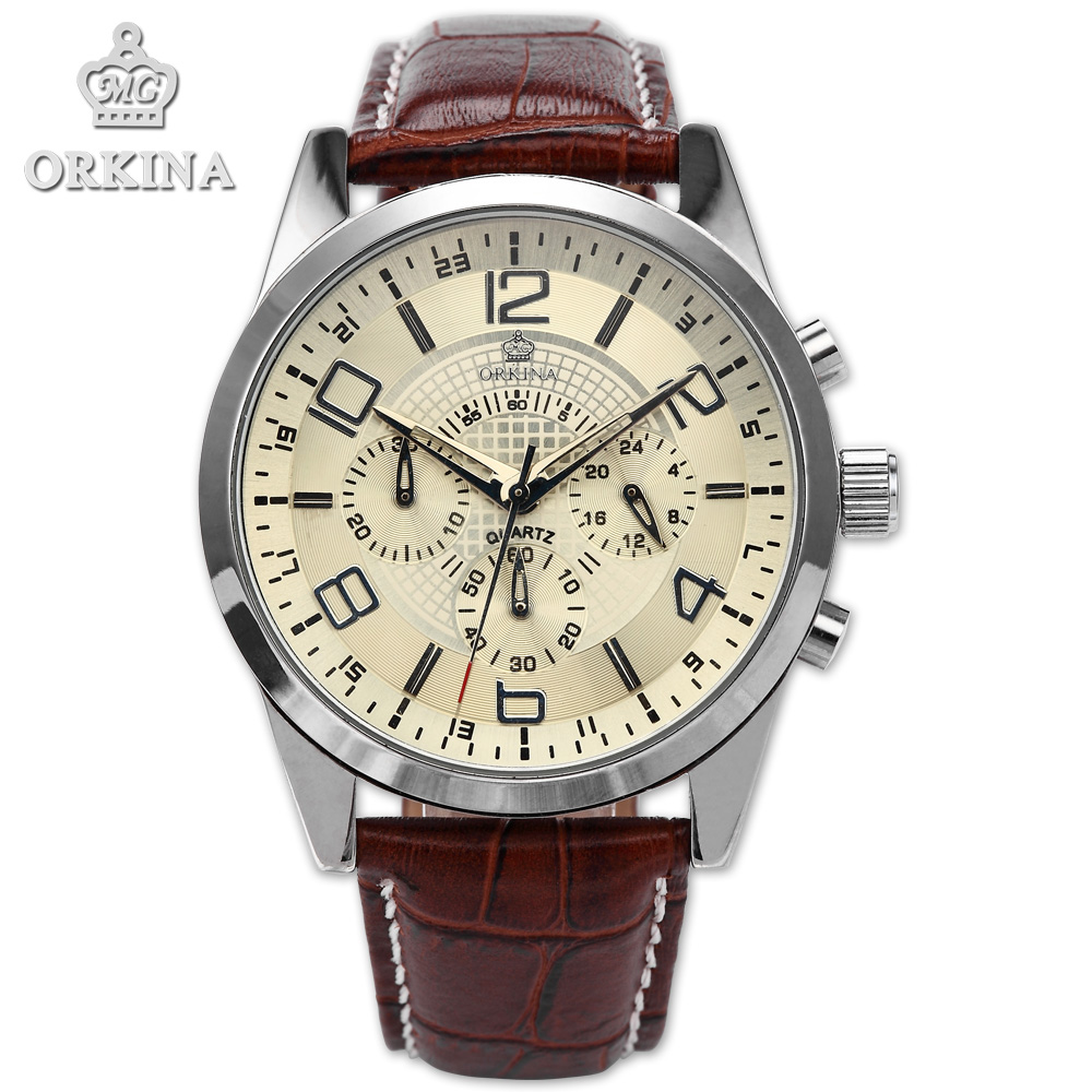 Orkina Brand Mens 24 Hours Stop watch Coffee Leather Silver Steel Case Army Fashion Sport Quartz Wrist Watches Cool Horloges 2018 kids clothes autumn spring boy casual plaid pants elastic waist school children full length trousers fashion big boys pants
