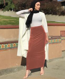 Image 4 - Muslim Women Skirt Bodycon Slim Stretch Long Maxi High Waist Pencil Dress Sheath Bottoms Islamic Ankle Length Arab Middle East