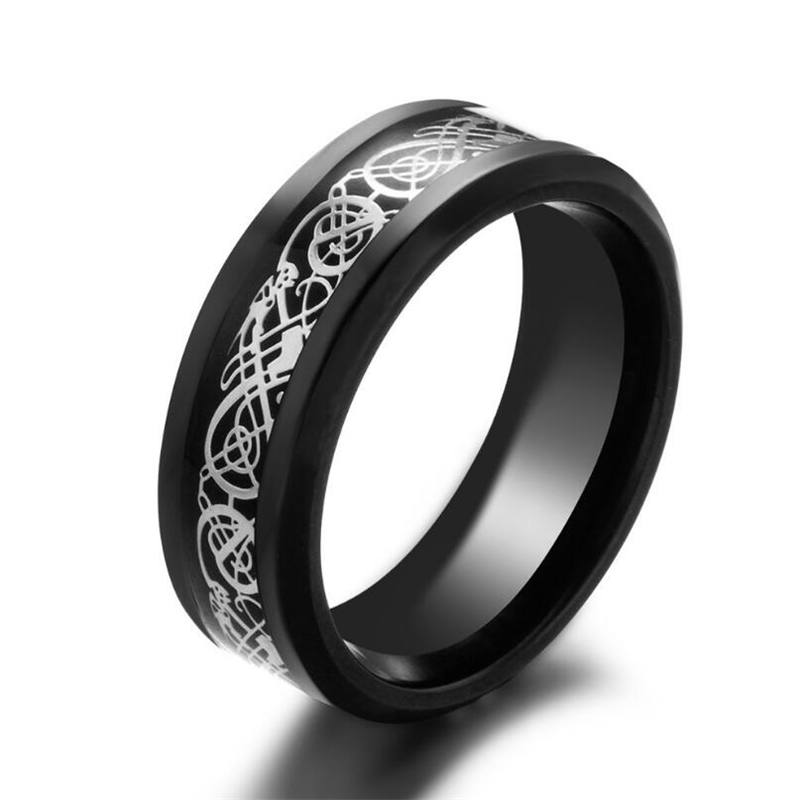 Ranzwal Stainless Steel Rings for Men Women Dragon Pattern Carbon Fiber Ring Jewelry US SIZE 7~14 MRI065