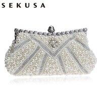 SEKUSA Beaded Diamonds Women Clutch Chain Shoulder Purse Bag Pearl Imitation Small Evening Party Wedding Handbags