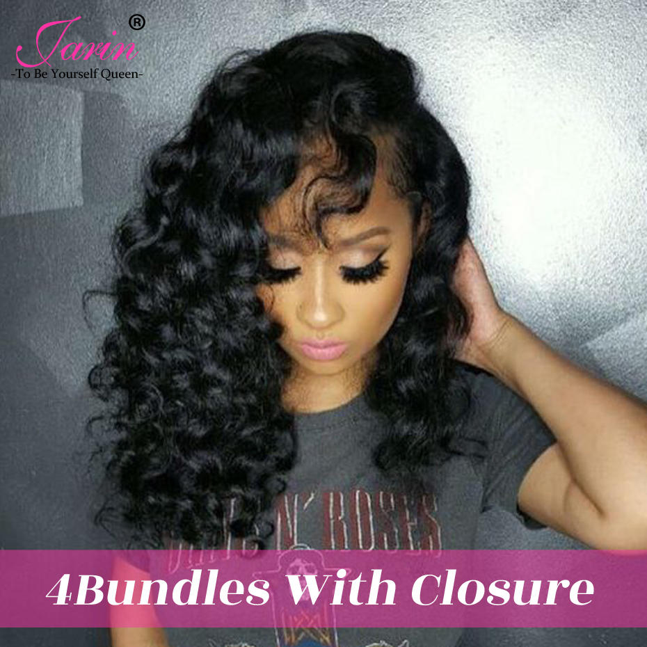 Jarin Peruvian Loose Wave 4 Bundles Human Hair With Lace Closure 4*4 Free Middle Part Natural Color Free Shipping Remy Hair-in 3/4 Bundles with Closure from Hair Extensions & Wigs    1