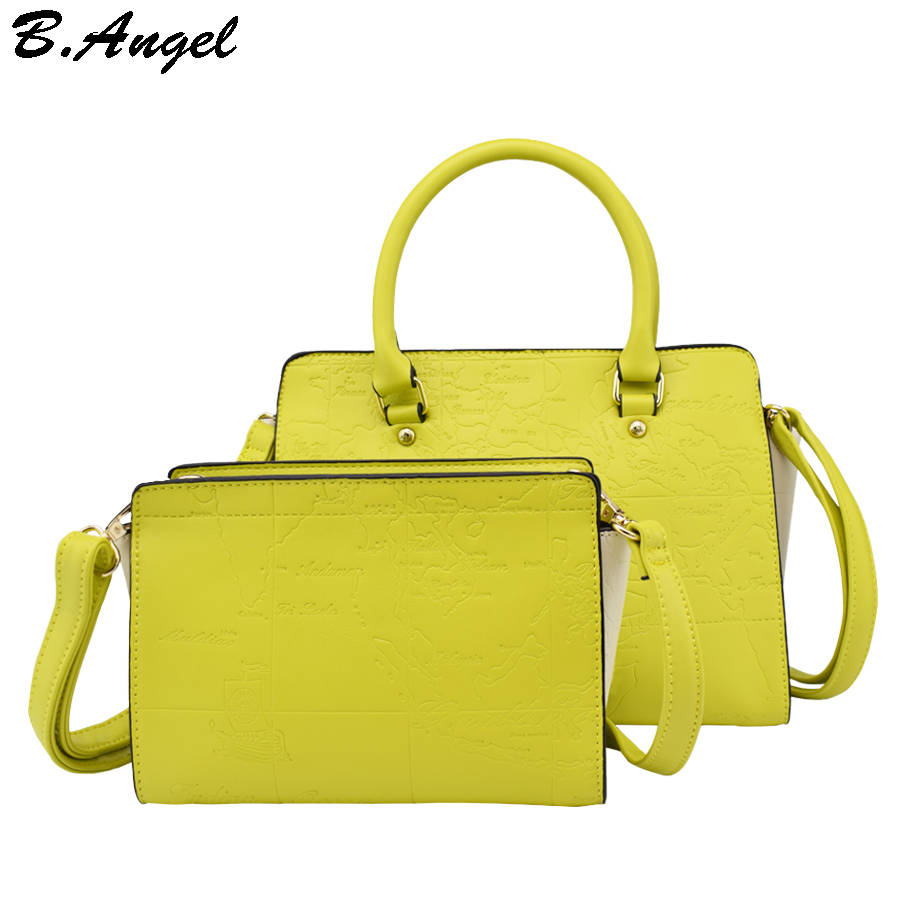 high quality 2 bags 1 set world map messenger bag fashion