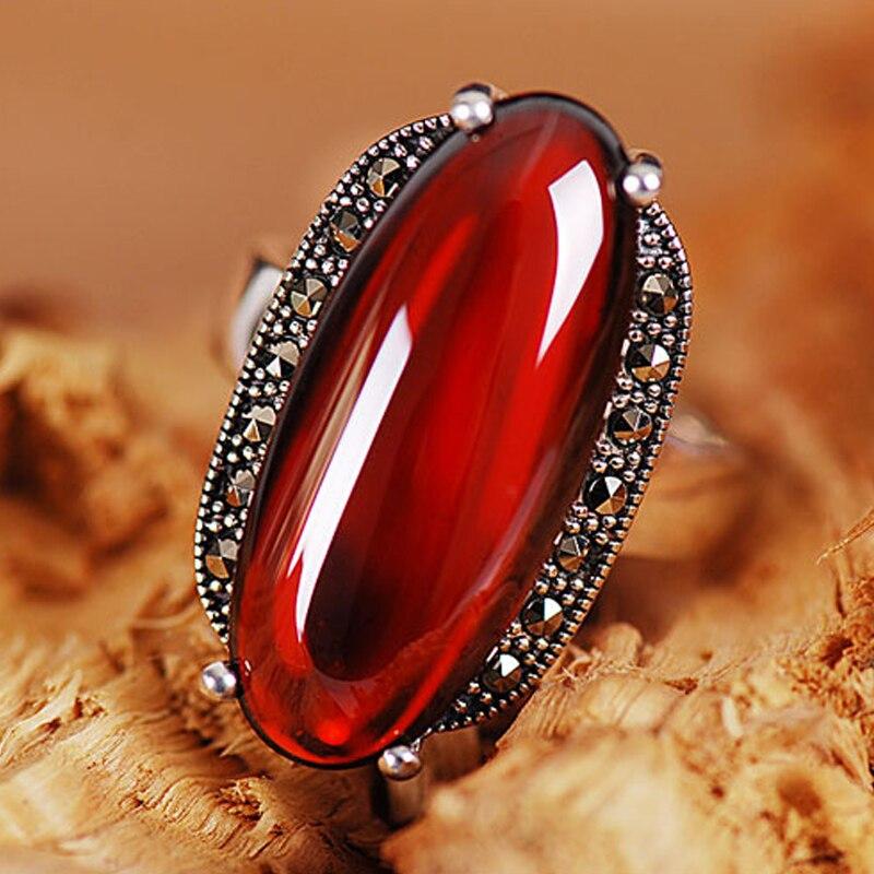 2018 High Quality 925 Pure Sterling Silver Natural Semi-precious Stones Garnet Red Big Rings Female Retro Fashion Bohemia Ring
