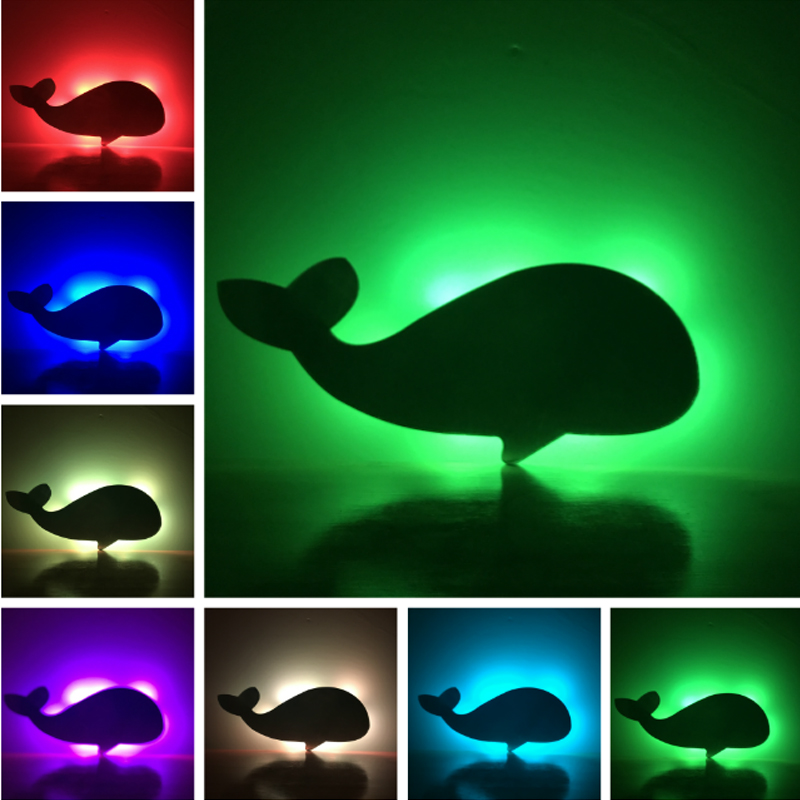 Novelty Whale LED Lampara Shadow Projection Wall Lamp Bedroom Porch Kids Baby Toys Gifts Warm Light Sensor Contrller Multicolor 2018 hero batman bat wall night light lampara shadow projection lamp child kids toy gifts warm light sensor contrller multicolor