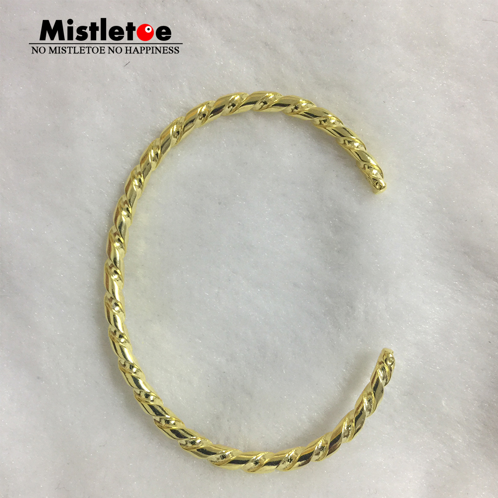 Genuine 925 Sterling Silver Gold color Twisted Silver Bangle Bracelet Fit European Troll Jewelry Not Include