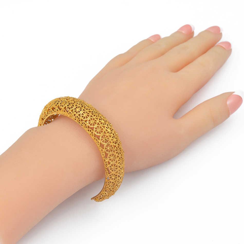 Anniyo, 4 шт./лот, Дубай, ювелирные изделия, золотой цвет, манжеты, браслеты в эфиопском африканском стиле, браслеты на запястье для женщин, арабские свадебные подарки #199706