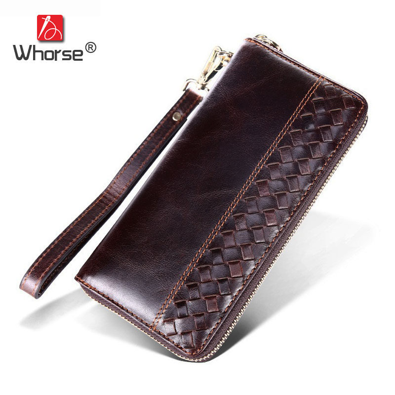 High-end Brand Vintage Weaving Design Genuine Leather Men Long Wallet Zipper Oil Wax Cowhide Mens Wallets Clutch Bag Purse W9365 simline vintage genuine cow leather cowhide mens men long double zipper wallet purse wallets card holder clutch bag bags for man